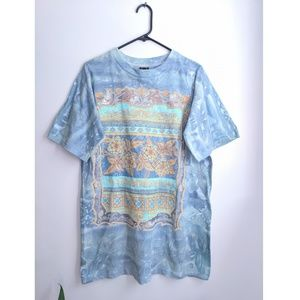 Blue Boho Tie Dye Floral Oversized T-Shirt Dress